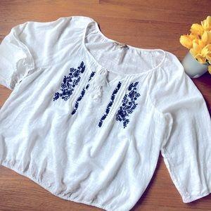 Vintage America White Gauzy Peasant Blouse XL